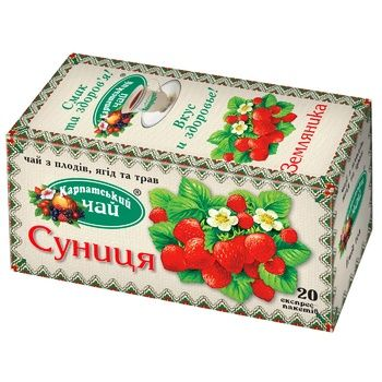 Herbal tea Karpatsky Chay wild strawberry 20x2g teabags - buy, prices for CityMarket - photo 1