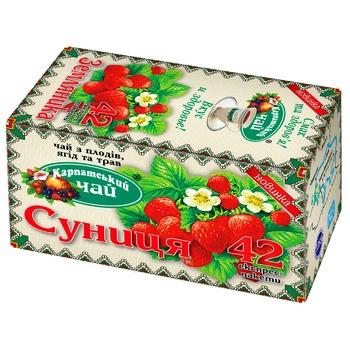 Чай трав'яний Карпатський чай суниця в пакетиках 42х2г - купити, ціни на Метро - фото 1