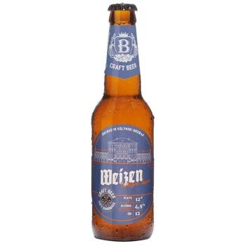 Пиво ТМ Волынский Бровар Weizen пшеничное светлое нефильтрованное 4,9% 0,35л - купить, цены на СитиМаркет - фото 1
