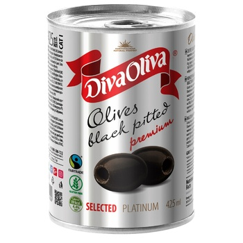 Diva Oliva Pitted Black Olives 432ml - buy, prices for MegaMarket - image 1