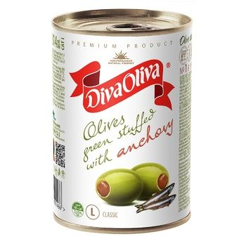Diva Oliva Green Olives stuffed with anchovy 300g - buy, prices for MegaMarket - photo 1