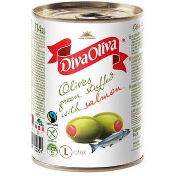 Оливки Diva Oliva з сьомгою 314мл - купити, ціни на Novus - фото 1