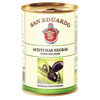 Оливки San Eduardo с косточкой 425г - купить, цены на Ашан - фото 1
