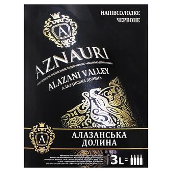 Wine Aznauri Alazani valley red semisweet 9-13% 3000ml Ukraine - buy, prices for Furshet - image 1