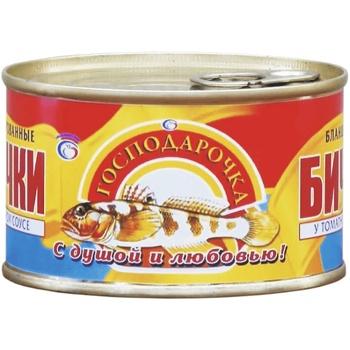 Бички Господарочка в томатному соусі 240г - купити, ціни на Фуршет - фото 1