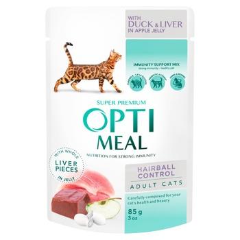 Корм Opti Meal Sensitive утиная печень в яблочном желе с эффектом выведения шерсти для кошек 85г