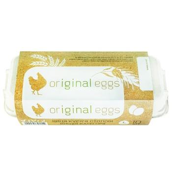 Яйца куриные Ясенсвит Original eggs С0 10шт - купить, цены на Ашан - фото 1