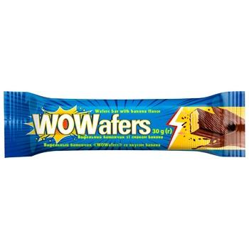 Батончик КБФ WOWafers вафельный со вкусом банана 30г
