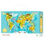 Пазл DoDo Карта Мира Животные 80элементов