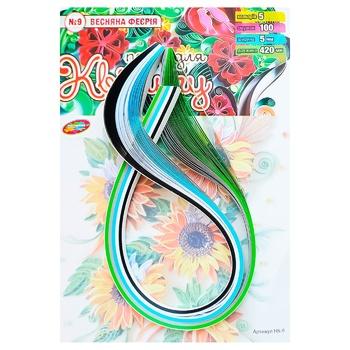Бумага для квиллинга Колорит Тон №9 Весенняя фееерия 5цветов 5х420мм 100полос