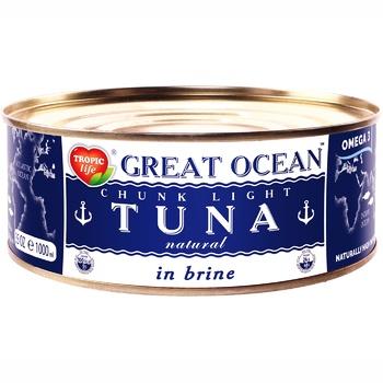 Тунец Tropic Life Graet Ocean целый в собственном соку 185мл - купить, цены на Фуршет - фото 1