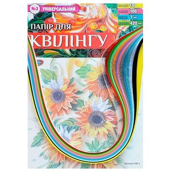 Бумага для квиллинга Колорит Тон №3 Универсальная 10цветов 5х420мм 100полос