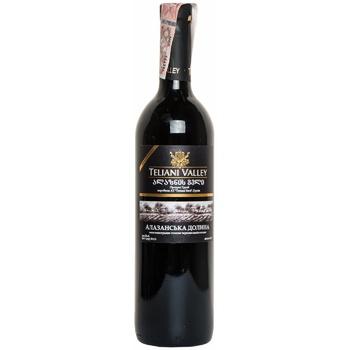 Вино Teliani Valley Алазанська долина червоне напівсолодке 12% 0.75л - купити, ціни на Ашан - фото 1