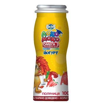 Йогурт Lactel Локо Моко клубника, обогащенный кальцием, омега 3 и витамином D3 1,5% 100г - купить, цены на Ашан - фото 1
