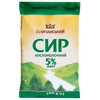 Сыр Галичина кисломолочный 5% 200г вакуумная упаковка