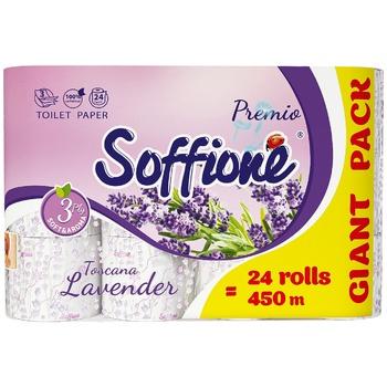 Бумага туалетная Soffione Toscana с ароматом лаванды трехслойная 24шт