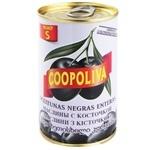 Маслины Coopoliva черные с косточкой 314мл