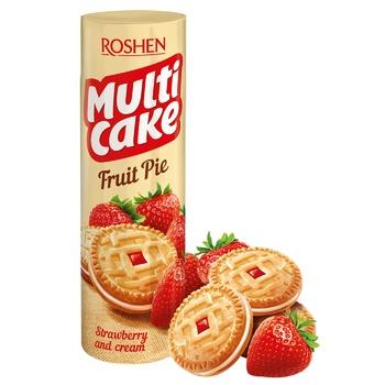 Печенье Roshen Multicake сахарное c начинкой клубника-крем 195г