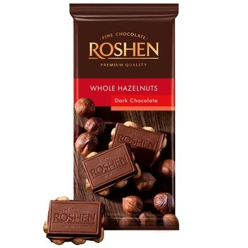 Шоколад экстрачерный Roshen Classic с целыми лесными орехами 90г