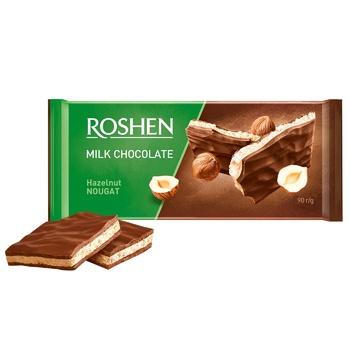 Шоколад молочный Roshen с ореховой нугой 90г