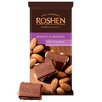 Шоколад молочний Roshen з цілим мигдалем 90г