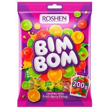 Цукерки Roshen Бім-Бом карамель з фруктово-ягідною начинкою 200г - купити, ціни на CітіМаркет - фото 1
