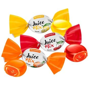 Roshen Juice Mix Caramel Candies with Fruit and Berry Filling