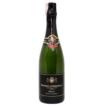 Вино ігристе Baron d'Arignac Blan de Blancs Brut біле сухе 11% 0,75л - купити, ціни на CітіМаркет - фото 1