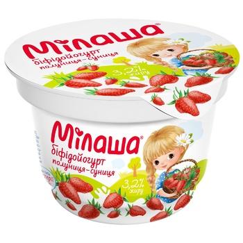 Біфідойогурт Мілаша з полуницею та суницею 3,2% 150г