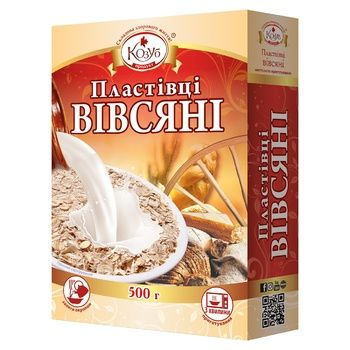 Flakes Kozub 500g oat carton packaging - buy, prices for Auchan - photo 1