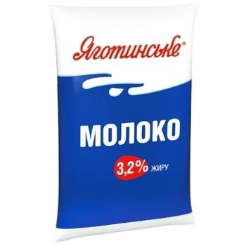 Молоко Яготинське коров'яче питне пастеризоване 3.2% 900г - купити, ціни на Фуршет - фото 1