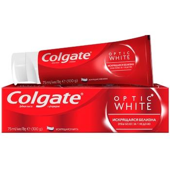 Зубна паста Colgate Optic White Іскриста білизна відбілююча 75мл - купити, ціни на ЕКО Маркет - фото 1