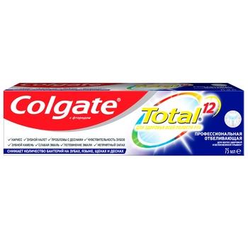 Зубная паста Colgate Total 12 Профессиональная Отбеливающая комплексная антибактериальная 75мл - купить, цены на Фуршет - фото 5