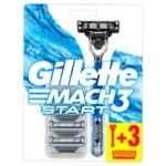 Бритва Gillette Mach3 Start + 3 сменных картриджа