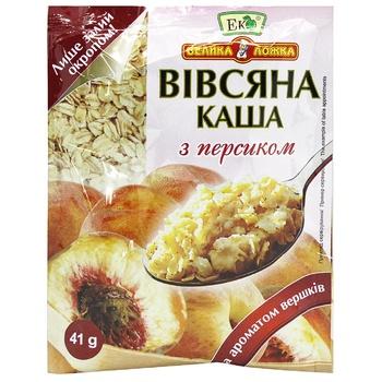 Каша Эко Большая Ложка овсяная с персиком и сливками 41г - купить, цены на ЕКО Маркет - фото 1