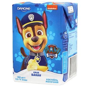Коктейль молочный Danone Щенячий Патруль банан 2,5% 212г - купить, цены на СитиМаркет - фото 1