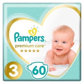 Пiдгузки Pampers Premium Care розмір 3 Midi 6-10кг 60шт - купити, ціни на CітіМаркет - фото 1