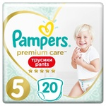 Подгузники-трусики Pampers Premium Care Pants размер 5 Junior 12-17кг 20шт - купить, цены на Ашан - фото 1