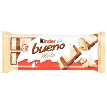 Вафли Kinder Bueno White с молочно-ореховой начинкой покрытые белым шоколадом 39г - купить, цены на Novus - фото 1
