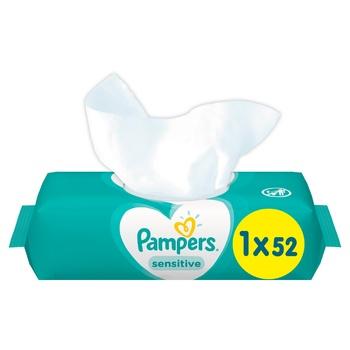 Cалфетки Pampers Sensitive 52шт - купить, цены на МегаМаркет - фото 1