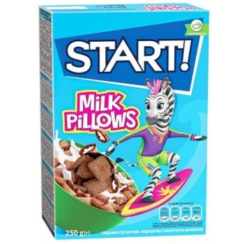 Сухие завтраки Start! зерновые подушечки с молочной начинкой 250г - купить, цены на Космос - фото 1