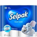 Папір туалетний Selpak Super Soft білий тришаровий 32шт