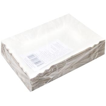 Тарелка бумажная прямоугольная 140*200мм, 100шт