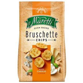 Хлебные брускеты Maretti запеченные со вкусом смесь сыров 70г