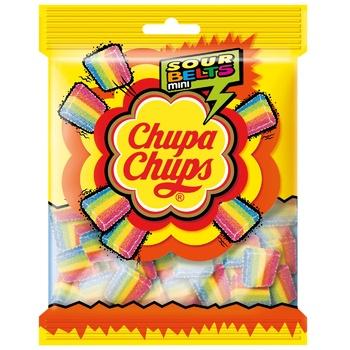 Мармелад жувальний Chupa Chups Sour Belts Mini з фруктовим смаком 150г - купити, ціни на Ашан - фото 1