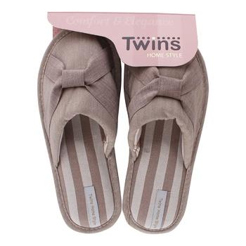 Тапочки Twins Elegant женские домашние бежевые 40р