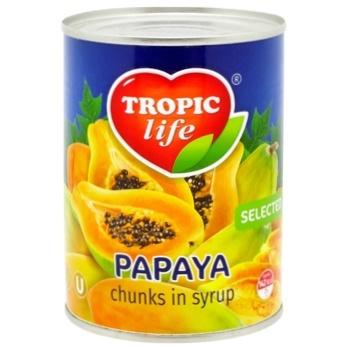 Папайя Tropic Life у сиропі 580г - купити, ціни на Фуршет - фото 1