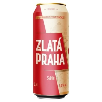 Пиво Zlata Praha світле 5% 0,5л