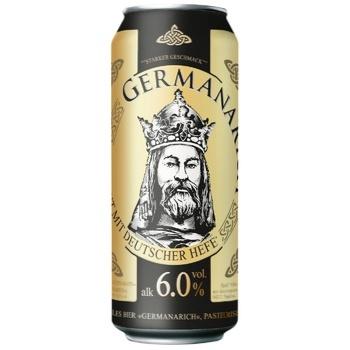 Пиво Germanarich світле пастеризоване з/б 0,5л 6%