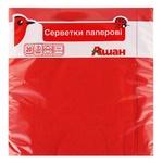 Auchan Paper Three-layer Red Napkins 33*33cm 20pcs